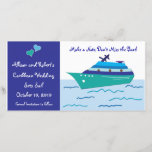 """Cruise Ship Save the Date Photo Cards<br><div class=""""desc"""">Customizable Wedding Cruise Save the Date Photo Cards for couples having a cruise ship, nautical or boat wedding. These wedding photo cards read, make a note don&#39;t miss the boat. Bride and Grooms destination wedding sets sail on wedding date. Customize and personalize all the text and information for your wedding...</div>"""