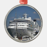 Cruise Ship Seabourn Odyssey Silver-Colored Round Decoration