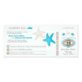 Cruise Ship Starfish Boarding Pass Wedding 4x9.25 Paper Invitation Card