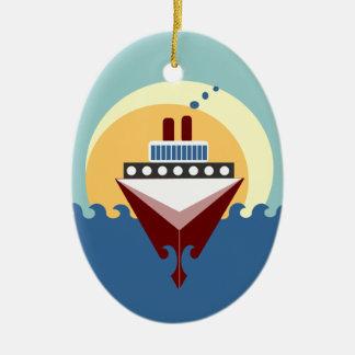 Cruise Ship Sunrise Double Sided Oval Ornament