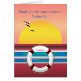 Cruise Ship - Waiter Staff  - Thank you Card
