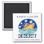 Cruise Ship Wedding Favor Magnets 2 Inch Square Magnet