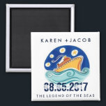 """Cruise Ship Wedding Favor Magnets<br><div class=""""desc"""">Customizable wedding on a cruise ship wedding favor magnets. Customize with your names, wedding date and ship name. A great gift to send you wedding guests home with to remind them of your wedding cruise. To further customize, change font style, size or ink color - use the customize it feature....</div>"""