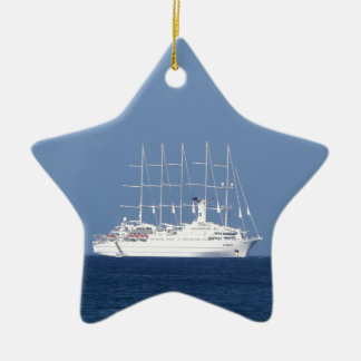 Cruise Ship With Sails Ceramic Ornament