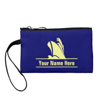 Cruise Ship Yellow on Blue Personalized Change Purse