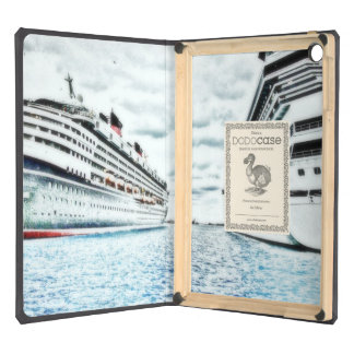Cruise Ships in Dock Pencil Drawing Nautical Theme iPad Air Cover