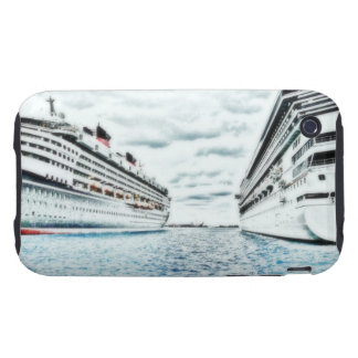 Cruise Ships in Port Colored Pencil Drawing iPhone 3 Tough Covers
