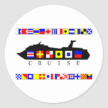 Cruise Signal Flags Round Stickers