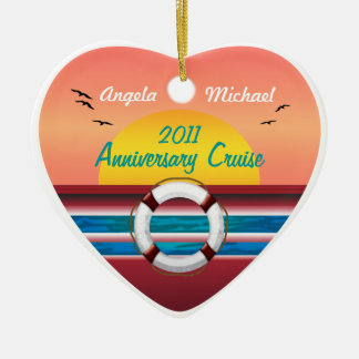 Cruise Sunset Design - Your Occasion Template Double-Sided Heart Ceramic Christmas Ornament