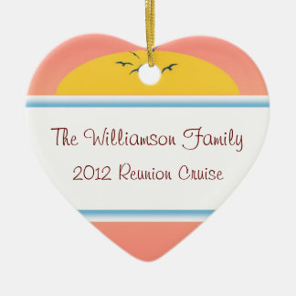 Cruise Sunset Family Reunion Heart Favor Ceramic Ornament