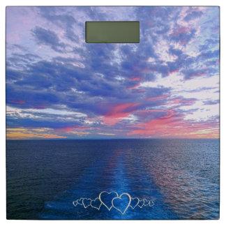 Cruise Sunset Ocean Waves Seascape Ship's Wake Aft Bathroom Scale