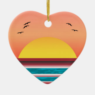 Cruise Sunset View Double Sided Heart Ornament