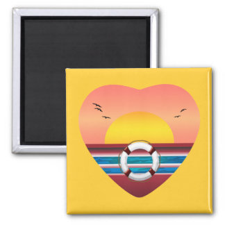 Cruise Sunset View Heart 2 Inch Square Magnet