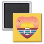 Cruise Sunset View Heart Fridge Magnet