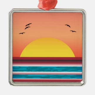 Cruise Sunset View Silver Framed Square Ornament