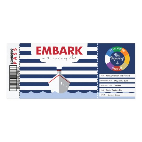 Cruise theme boarding pass invitation for YW NB | Zazzle