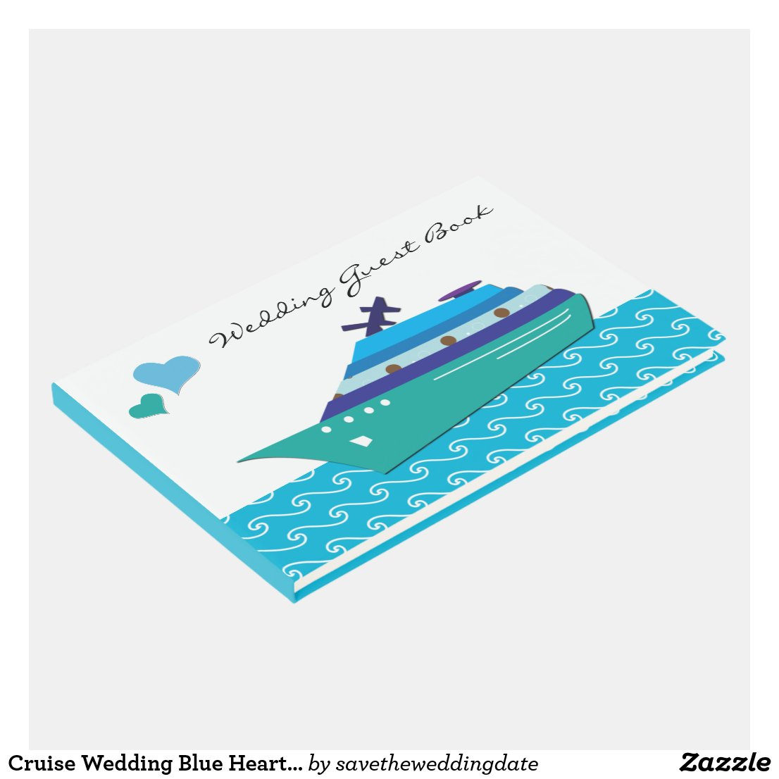 Cruise Wedding Blue Hearts Guest Book