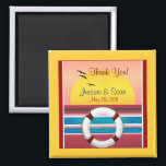 """Cruise Wedding Personalized Favor Magnet<br><div class=""""desc"""">A romantic sunset view heart cruise ship magnet in square shape. A wonderful favor for a cruise wedding. This magnet features a romantic and vibrant colored sunset view digital art inside a heart, by XG Designs NYC. It&#39;s a unique favor idea to thank your guests and give them a keepsake...</div>"""