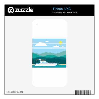 Cruiser Boat landscape shore Skin For iPhone 4S