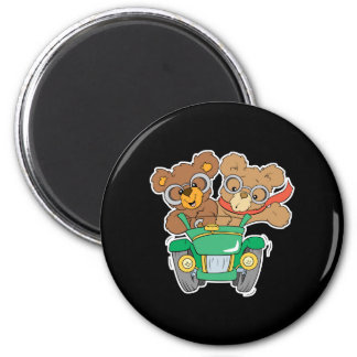Cruisin in Car Bears 2 Inch Round Magnet