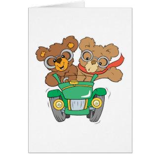 Cruisin in Car Bears Greeting Cards
