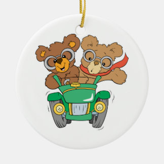 Cruisin in Car Bears Double-Sided Ceramic Round Christmas Ornament