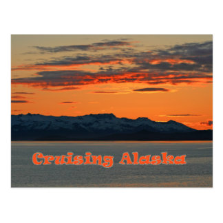Cruising Alaska / Vivid Orange Sunset Postcard