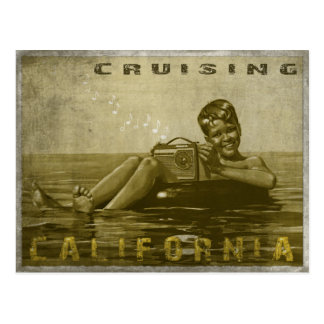Cruising California Postcard with Cool Vintage Guy