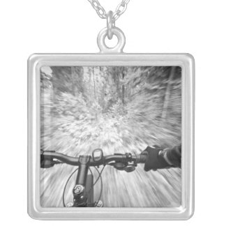 Cruising down a buff section of singletrack 2 silver plated necklace