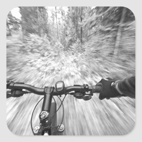 Cruising down a buff section of singletrack 2 square sticker