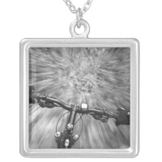 Cruising down a buff section of singletrack silver plated necklace