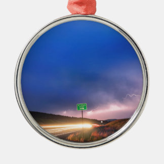 Cruising Highway 36 Into the Storm Metal Ornament