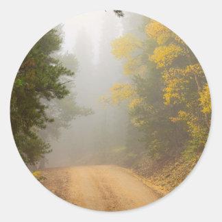 Cruising Into Autumn Fog Classic Round Sticker