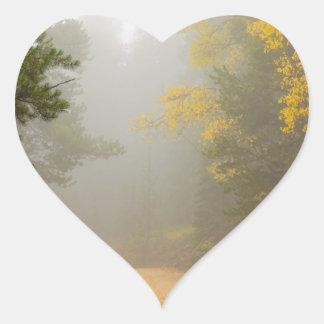 Cruising Into Autumn Fog Heart Sticker