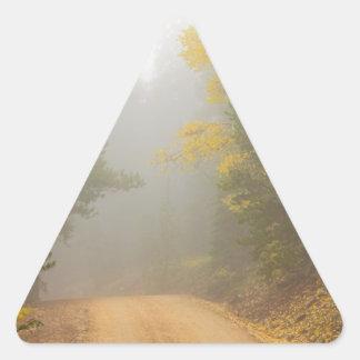 Cruising Into Autumn Fog Triangle Sticker