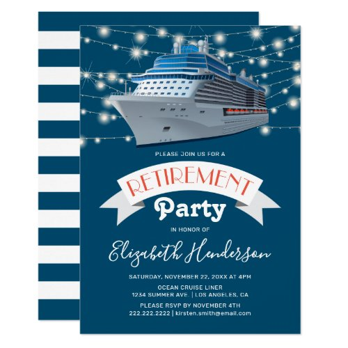 Cruising into Retirement Party  Ocean Liner Invitation
