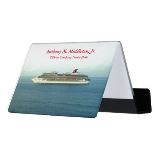 Cruising the Tropics CH1P Personalized Desk Business Card Holder
