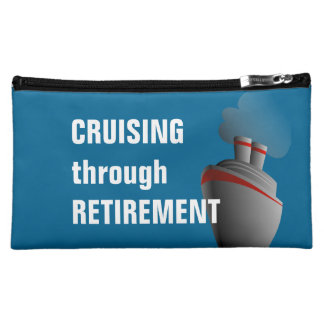Cruising Through Retirement Blue Makeup Bag