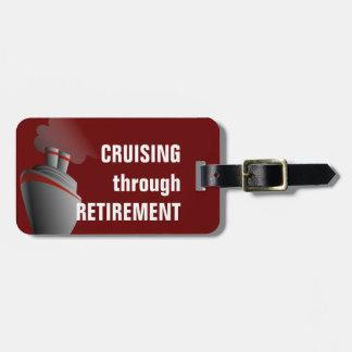 Cruising Through Retirement Dark Red Personalized Bag Tag