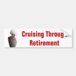 Cruising Through Retirement White Bumper Sticker