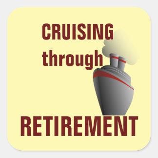 Cruising Through Retirement Yellow Square Sticker