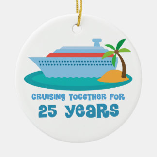 Cruising Together For 25 Years Anniversary Gift Double-Sided Ceramic Round Christmas Ornament