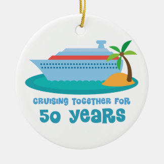 Cruising Together For 50 Years Anniversary Gift Double-Sided Ceramic Round Christmas Ornament