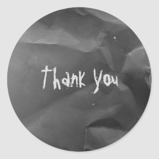Crumbled Black with Chalk Thank You Classic Round Sticker