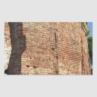 Crumbling brick wall rectangular sticker