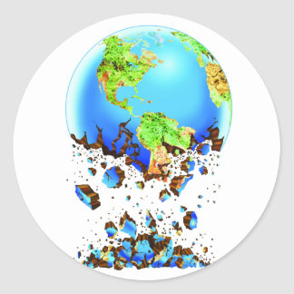 crumbling earth classic round sticker