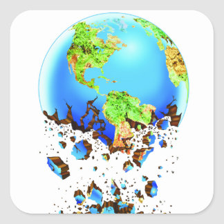 crumbling earth square sticker