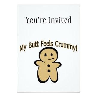 Crummy Butt Cookie Boy 5x7 Paper Invitation Card