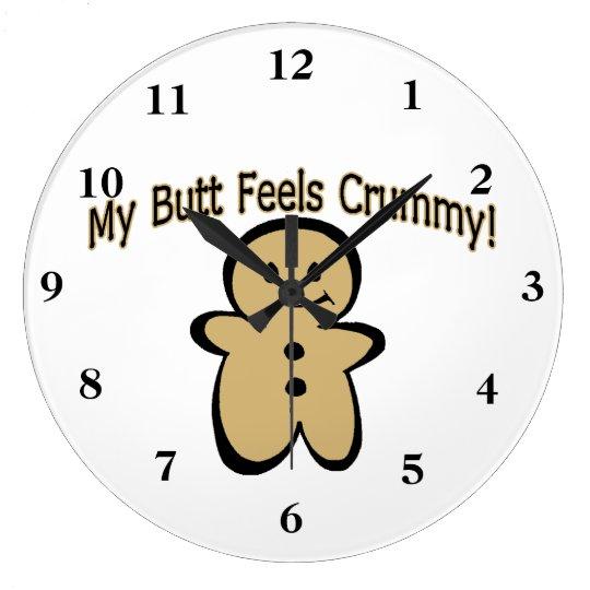 Crummy Butt Cookie Boy Large Clock