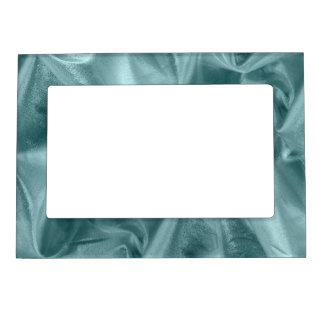 Crumpled Aqua Lame' Metallic Fabric Photograph Magnetic Photo Frame